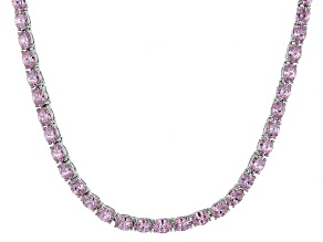 Bella Luce® 26.13ctw Oval Pink Diamond Simulant Rhodium Over Silver Necklace