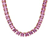 Bella Luce® 134.66ctw Pink Diamond Simulant 18k Gold Over Silver Necklace
