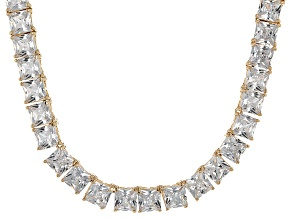 Bella Luce® 112.48ctw Princess Diamond Simulant 18k Gold Over Silver Necklace