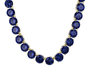 Bella Luce® 174.42ctw Round Tanzanite Simulant 18k Gold Over Silver Necklace
