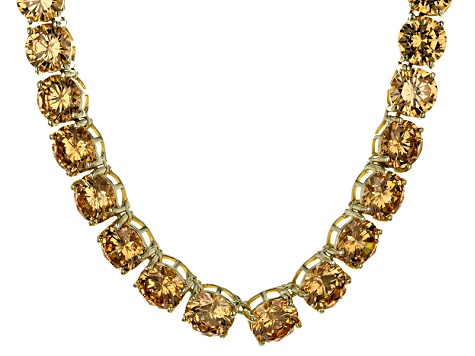 Bella Luce® 174.42ctw Champagne Diamond Simulant 18k Gold Over Silver Necklace