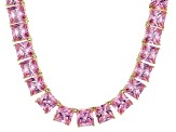 Bella Luce® 146.30ctw Pink Diamond Simulant 18k Gold Over Silver Necklace