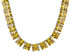 Bella Luce® 256.03ctw Yellow Diamond Simulant Rhodium Over Silver Necklace