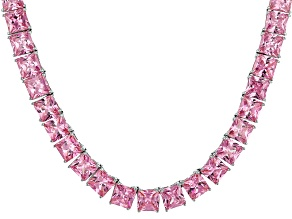 Bella Luce® 134.66ctw Pink Diamond Simulant Rhodium Over Silver Necklace