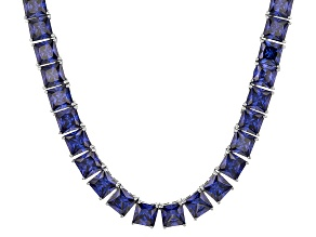 Bella Luce® 134.66ctw Princess Tanzanite Simulant Rhodium Over Silver Necklace