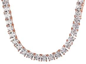 Bella Luce® 112.48ctw Princess Diamond Simulant 18k Gold Over Silver Necklace