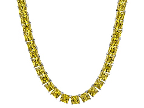Bella Luce® 112.48ctw Yellow Diamond Simulant Rhodium Over Silver Necklace