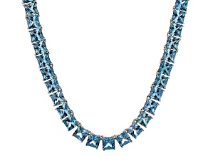 Bella Luce® 80.85ctw Princess Apatite Simulant Rhodium Over Silver Necklace