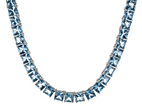 Bella Luce® 53.11ctw Princess Apatite Simulant Rhodium Over Silver Necklace