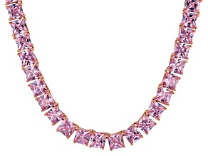 Bella Luce® 77.62ctw Pink Diamond Simulant 18k Gold Over Silver Necklace