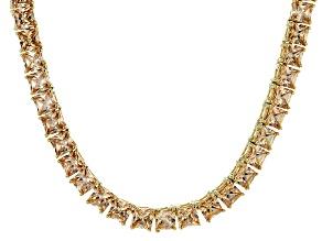 Bella Luce® 46.17ctw Champagne Diamond Simulant 18k Gold Over Silver Necklace