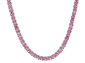 Bella Luce® 30.81ctw Pink Diamond Simulant Rhodium Over Silver Tennis Necklace