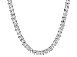 Bella Luce® 46.17ctw Diamond Simulant Rhodium Over Silver Tennis Necklace