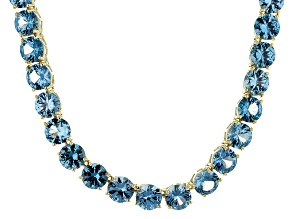 Bella Luce® 79.52ctw Round Apatite Simulant 18k Gold Over Silver Necklace