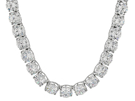 Bella Luce® 174.42ctw Diamond Simulant Rhodium Over Silver Tennis Necklace