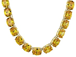 Bella Luce® 139.65ctw Yellow Diamond Simulant 18k Gold Over Silver Necklace