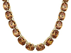 Bella Luce® 139.65ctw Champagne Diamond Simulant 18k Gold Over Silver Necklace