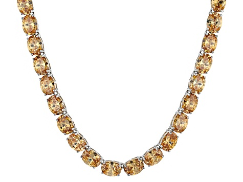 Bella Luce® 96.66ctw Champagne Diamond Simulant Rhodium Over Silver Necklace