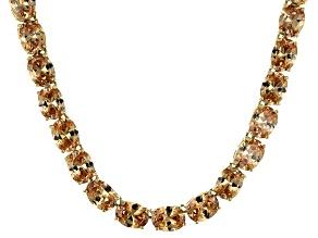 Bella Luce® 96.66ctw Champagne Diamond Simulant 18k Gold Over Silver Necklace