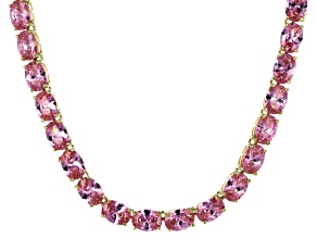Bella Luce® 60.80ctw Oval Pink Diamond Simulant 18k Gold Over Silver Necklace