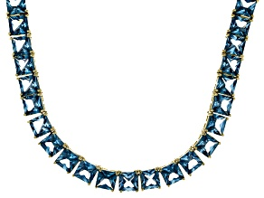Bella Luce® 104.74ctw Princess Apatite Simulant 18k Gold Over Silver Necklace