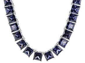 Bella Luce® 146.30ctw Princess Tanzanite Simulant Rhodium Over Silver Necklace