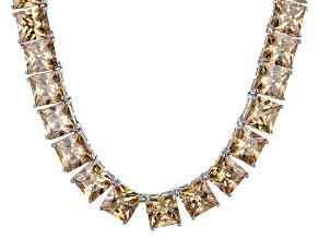 Bella Luce® 146.30ctw Champagne Diamond Simulant Rhodium Over Silver Necklace
