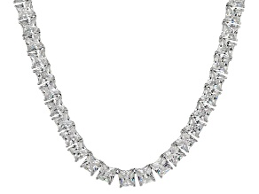 Bella Luce® 112.48ctw Princess Diamond Simulant Rhodium Over Silver Necklace
