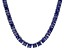 Bella Luce® 112.48ctw Princess Tanzanite Simulant Rhodium Over Silver Necklace