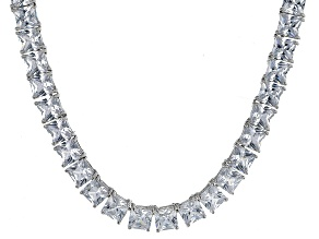 Bella Luce® 77.62ctw Princess Diamond Simulant Rhodium Over Silver Necklace