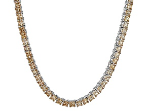 Bella Luce® 30.81ctw Champagne Diamond Simulant Rhodium Over Silver Necklace