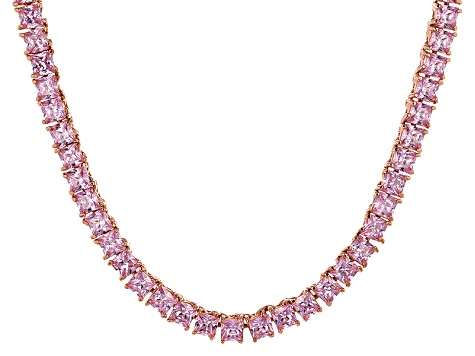 Bella Luce® 30.81ctw Pink Diamond Simulant 18k Rose Gold Over Silver Necklace