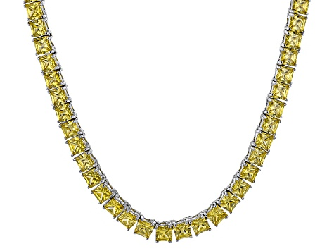 Bella Luce® 46.17ctw Yellow Diamond Simulant Rhodium Over Silver Necklace