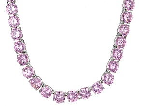 Bella Luce® 126.64ctw Round Pink Diamond Simulant Rhodium Over Silver Necklace