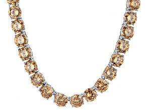 Bella Luce® 126.64ctw Champagne Diamond Simulant Rhodium Over Silver Necklace