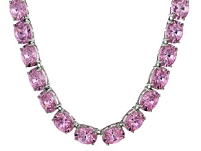Bella Luce® 139.65ctw Oval Pink Diamond Simulant Rhodium Over Silver Necklace
