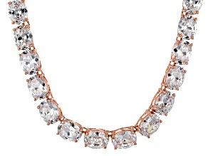 Bella Luce® 139.65ctw Oval Diamond Simulant 18k Rose Gold Over Silver Necklace