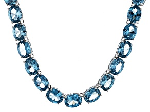 Bella Luce® 88.45ctw Oval Apatite Simulant Rhodium Over Silver Tennis Necklace