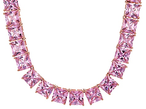 Bella Luce® 256.03ctw Pink Diamond Simulant 18k Rose Gold Over Silver Necklace