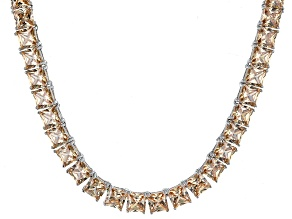 Bella Luce® 77.62ctw Champagne Diamond Simulant Rhodium Over Silver Necklace
