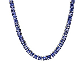 Bella Luce® 46.17ctw Princess Tanzanite Simulant Rhodium Over Silver Necklace
