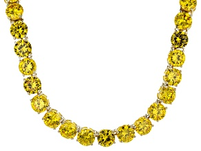Bella Luce® 126.64ctw Yellow Diamond Simulant 18k Gold Over Silver Necklace