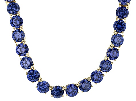 Bella Luce® 126.64ctw Round Tanzanite Simulant 18k Gold Over Silver Necklace