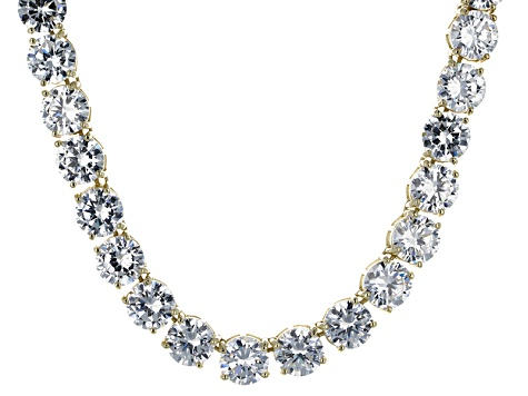 Bella Luce® 174.42ctw Round Diamond Simulant 18k Gold Over Silver Necklace