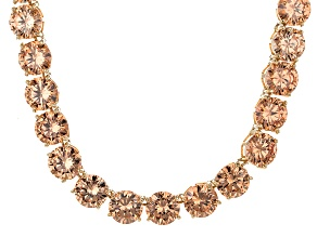 Bella Luce® 214.13ctw Champagne Diamond Simulant 18k Gold Over Silver Necklace