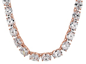 Bella Luce® 60.80ctw Oval Diamond Simulant 18k Rose Gold Over Silver Necklace