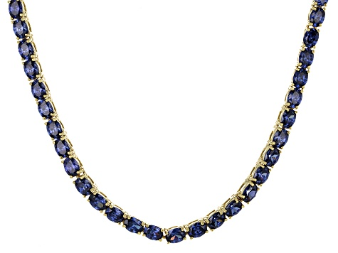 Bella Luce® 26.13ctw Oval Tanzanite Simulant 18k Gold Over Silver Necklace