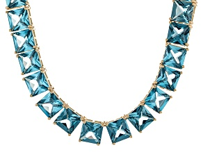 Bella Luce® 111.72ctw Princess Apatite Simulant 18k Gold Over Silver Necklace