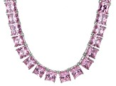 Bella Luce® 146.30ctw Pink Diamond Simulant Rhodium Over Silver Necklace