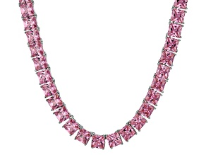 Bella Luce® 112..48ctw Pink Diamond Simulant Rhodium Over Silver Necklace